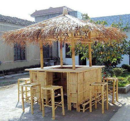 Island Style Natural Bamboo Tiki Style Bar - 8ft x 8ft ... on Backyard Tiki Bar For Sale id=55740