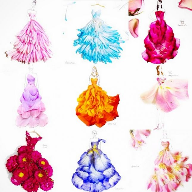 Whoa These Dresses Are Made Completely Of Flowers Veggies Flower Petal Art Flower Fashion Flower Dress Art