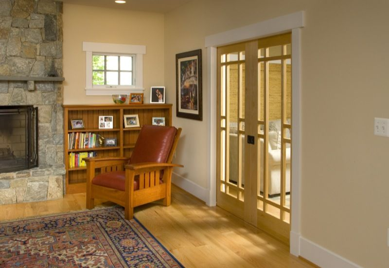 Use Of French Bungalow Pocket Doors Means More Space In The Room For Furniture
