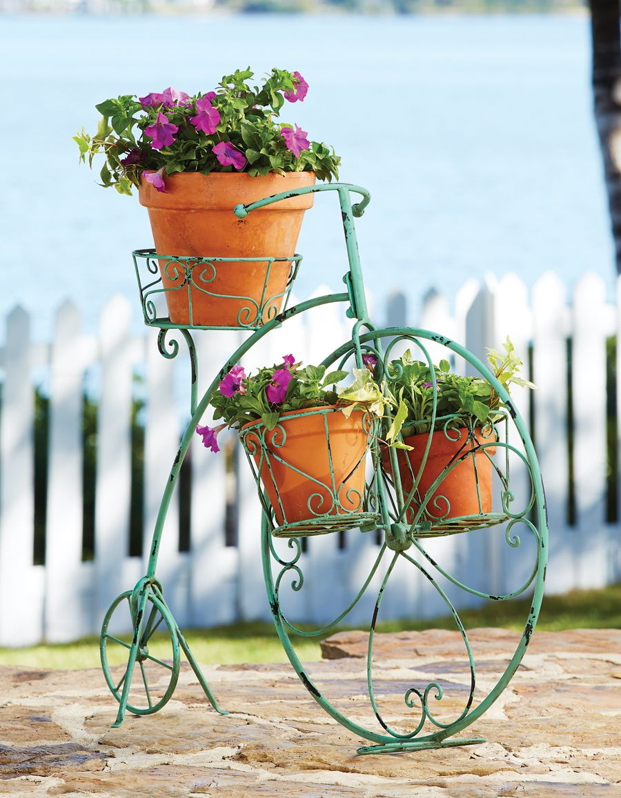 Victorian bicycle plant stand wouldn 39 t this be nice in the garden how does your garden - Bicycle planter stand ...