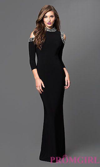 57736c3db060 Mock Neck Cold Shoulder Black Long Formal Dress by Marina at PromGirl.com