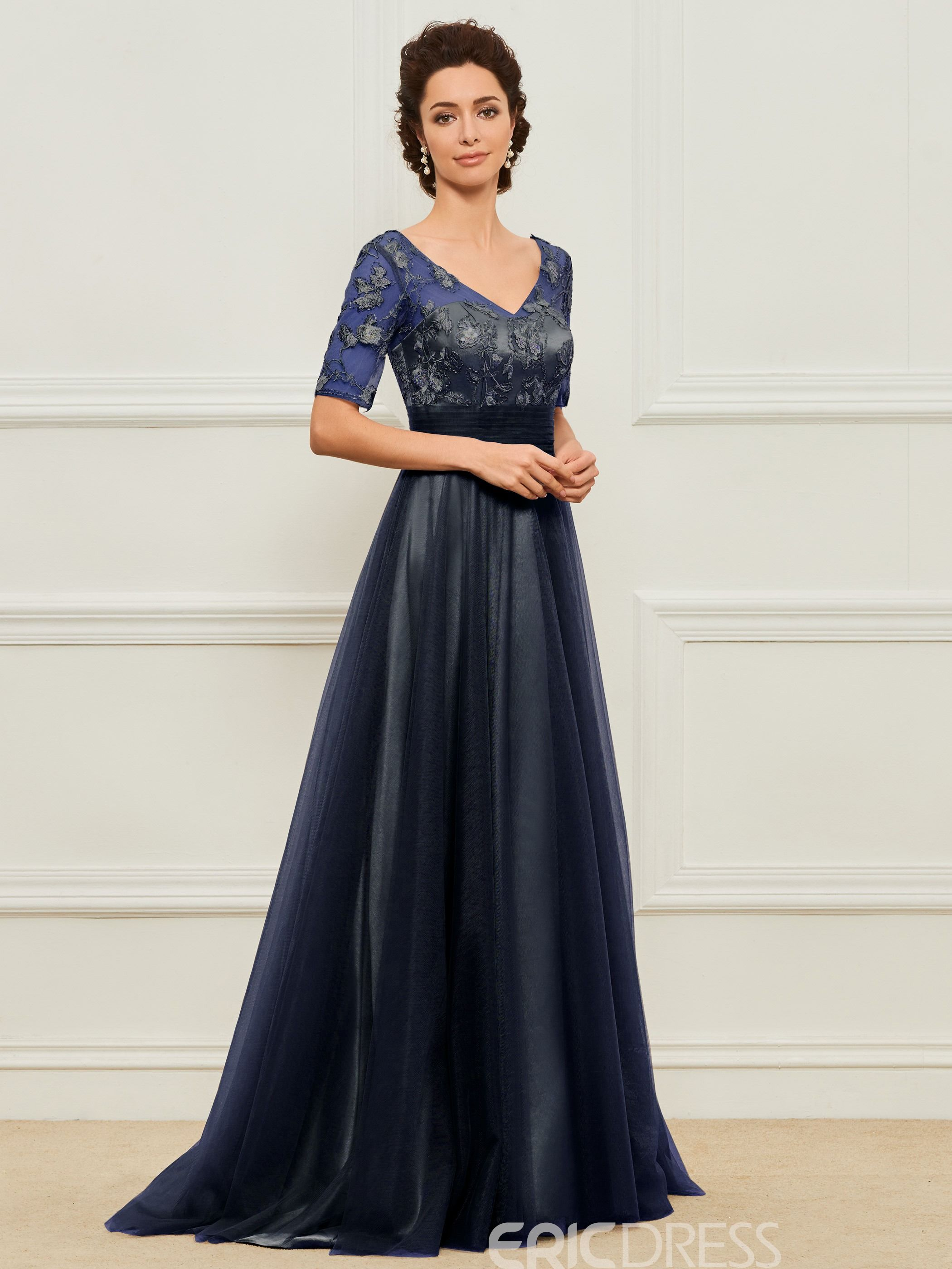 e9fb857b08c6 Ericdress A Line Short Sleeves Tulle Mother of the Bride Dress 13136153 -  Ericdress.com