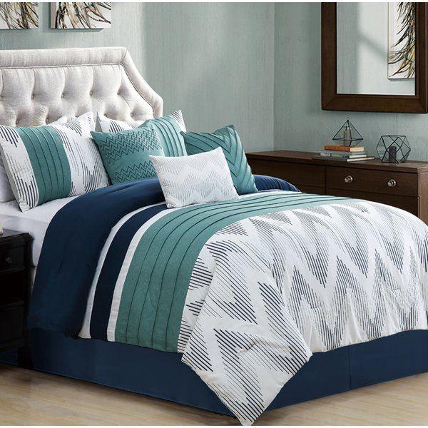 You Ll Love The Chenard Embroidered 7 Piece Comforter Set At Wayfair Great Deals On All Bed Bath Produ Blue Bedroom Decor Bedroom Bed Design Comforter Sets