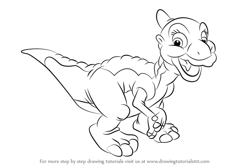 How To Draw Ducky From The Land Before Time Step By Step Learn Drawing By This Tutorial For Kids And Adults Drawings Disney Tattoos Embroidery Lessons