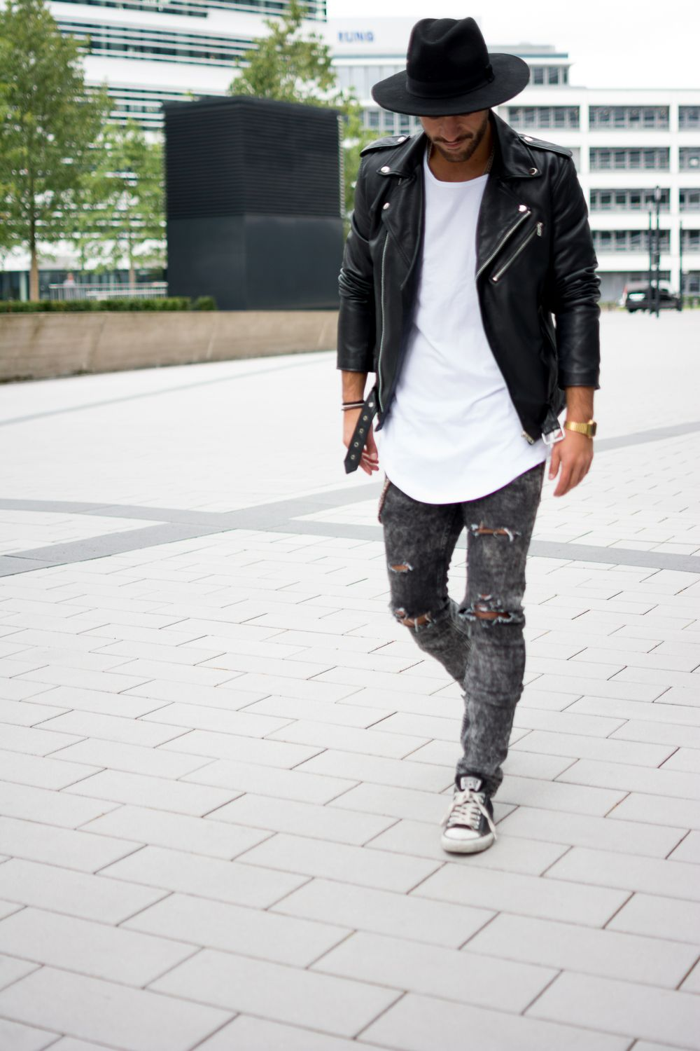 Replicating this outfit leather jacket hat watch Mens