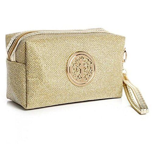 HOYOFO Travel Cosmetic Pouch Protable Mini Tote Bag with Bling Shine Leather, Golden