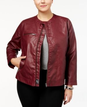 2a20f9af1cd William Rast Trendy Plus Size Faux-Leather Jacket - Red 2X