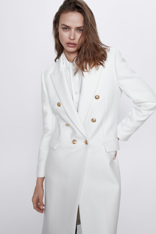 Buttoned Wool Blend Coat Zara United States [ 1500 x 1000 Pixel ]