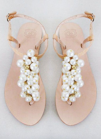 Wedding Shoes Handmade Sandals Decorated With Pearl And Gold Beads