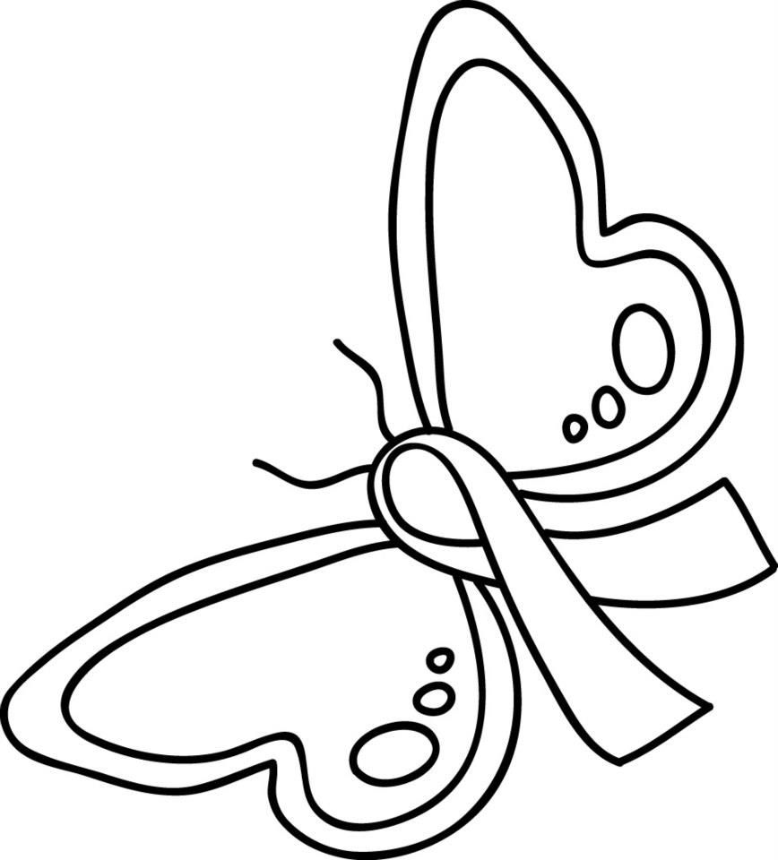 Pink Ribbon Coloring Page More