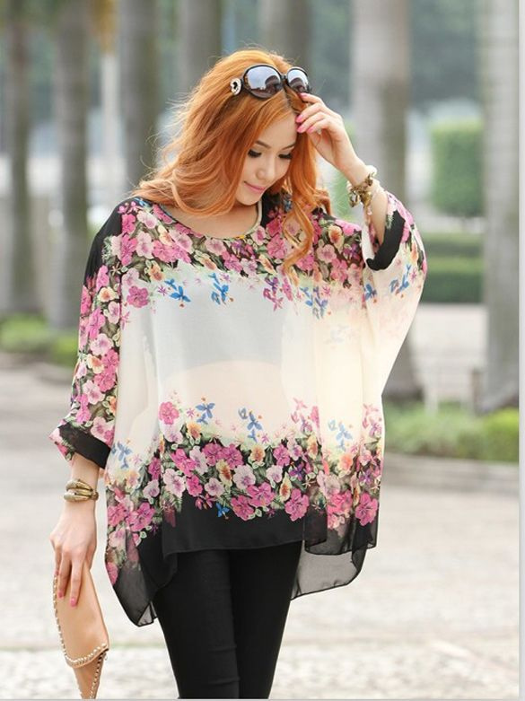 27f39474cae91a Bohemian Style Women Oversized Dolman Sleeve Floral Chiffon Tops Blouse