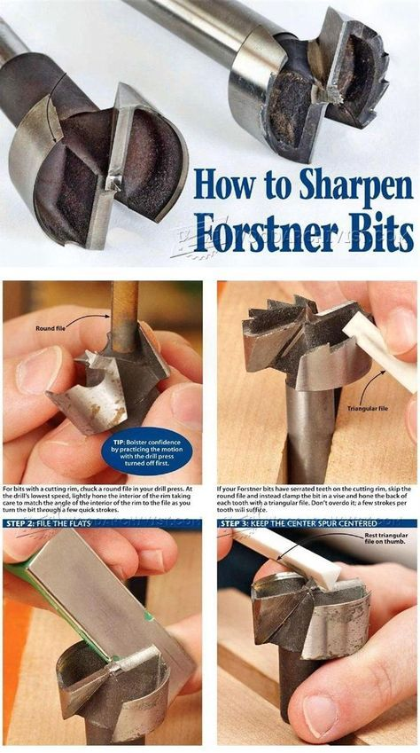Sharpening Forstner Bits Sharpening Tips Jigs And Techniques Woodarchivist Com Woodworking Techniques Woodworking Tips Woodworking Shop