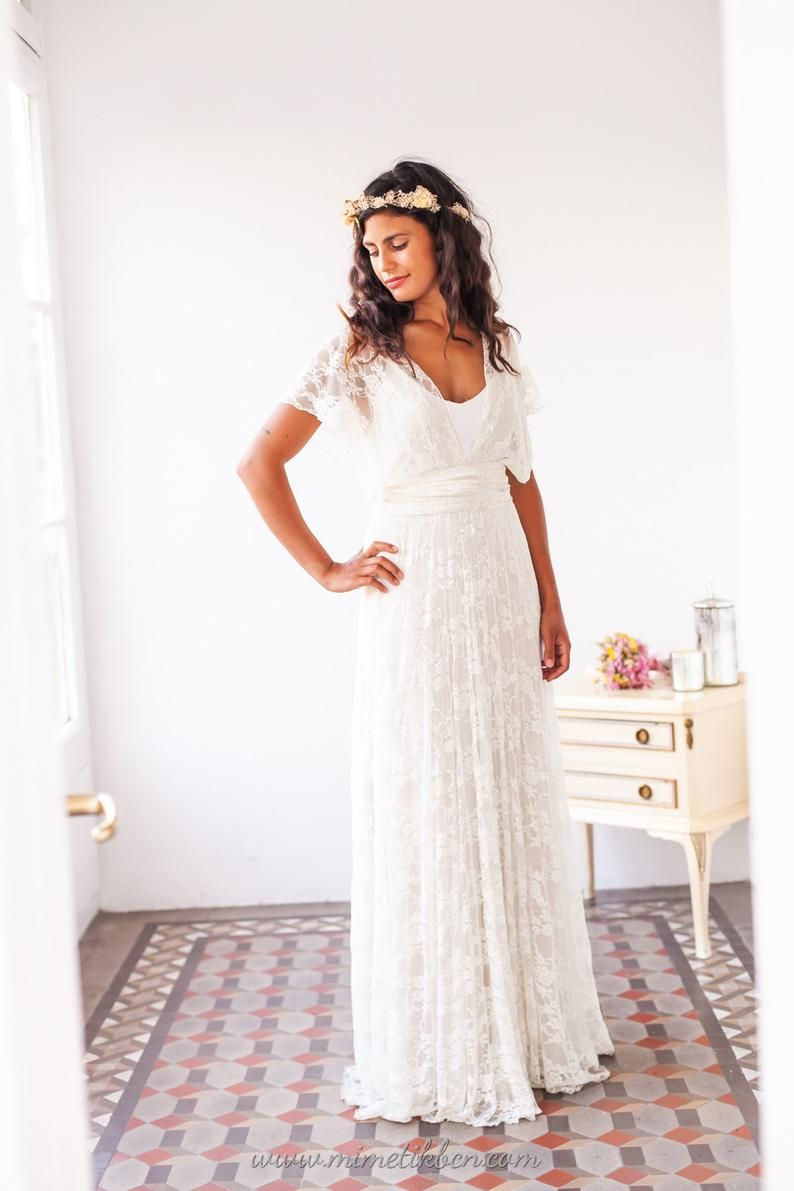 Ethereal Wedding Dress Wedding Dress Beach Ethereal Bridal Etsy Relaxed Wedding Dress Low Key Wedding Dress Lace White Dress [ 1191 x 794 Pixel ]