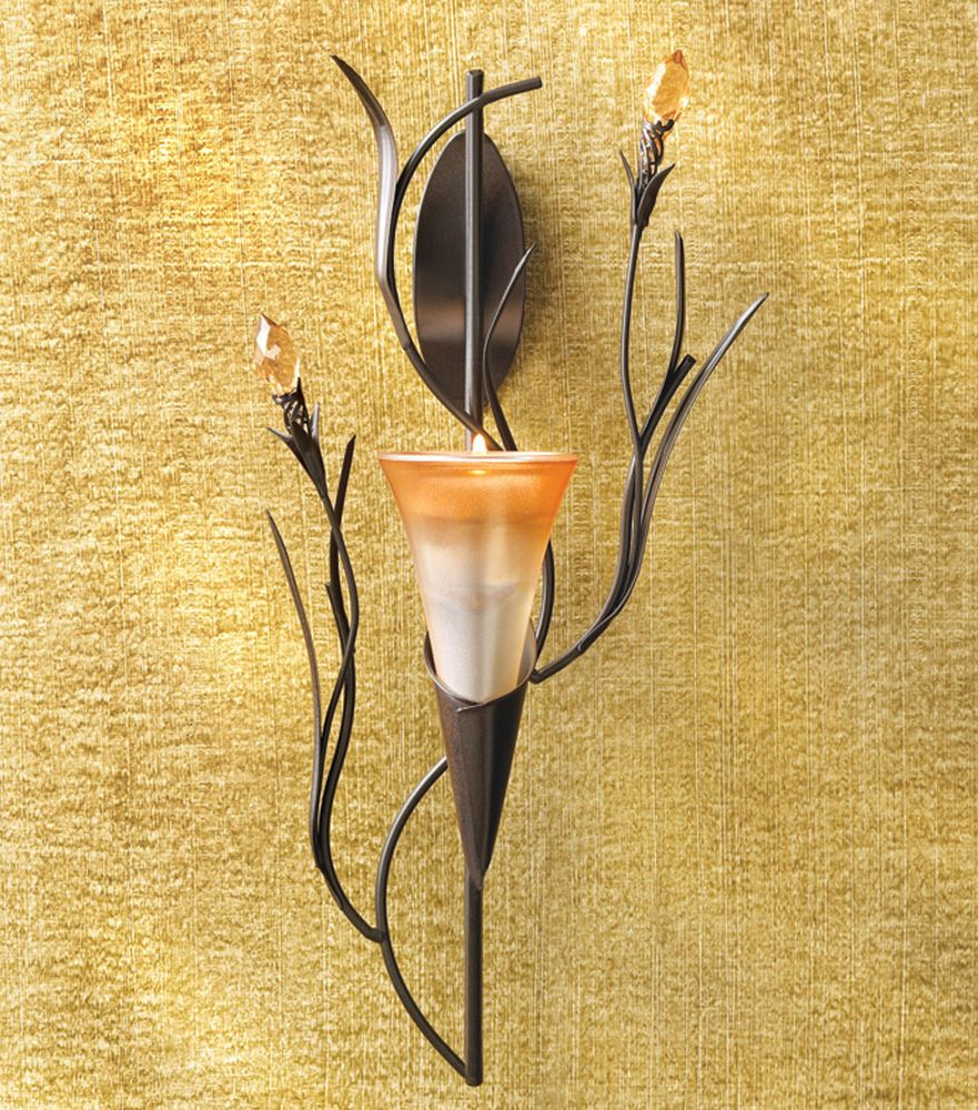WALL SCONCE: DAWN LILY Flower Blossom Tealight Candle ... on Wall Sconces That Hold Flowers id=42159