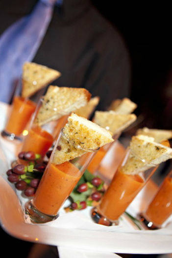 Cream of tomato soup in a double shot glass with a bread triangle on top! Pretty delectable looking hors d'oeuvres