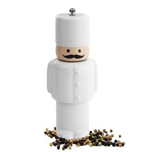 Chef Pepper Mill - Spice up any kitchen with this unique ceramic chef pepper mill grinder.