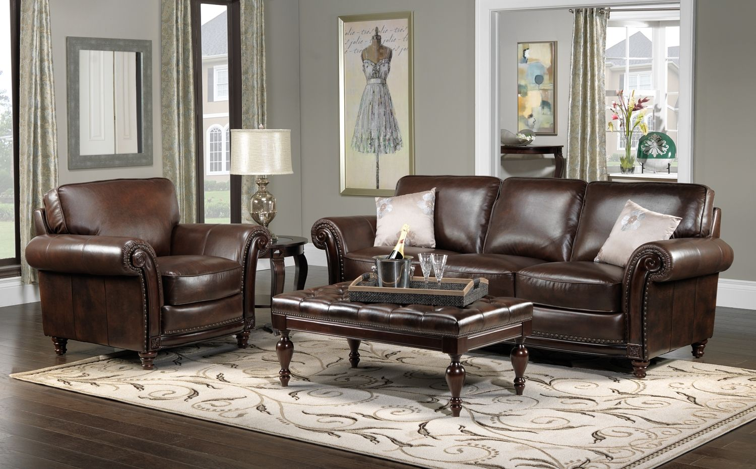 Dream house decor ideas for brown leather furniture gngkxz for Home decor sofa designs