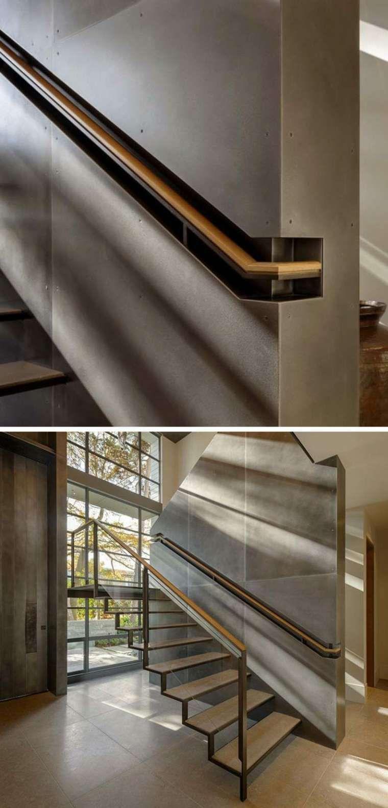 main courante escalier pierre et bois modele interieur moderne