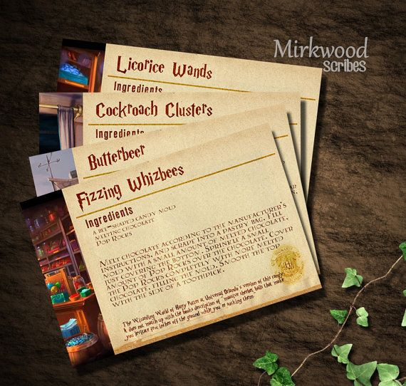 harry potter recipe cards diy printable by mirkwoodscribes