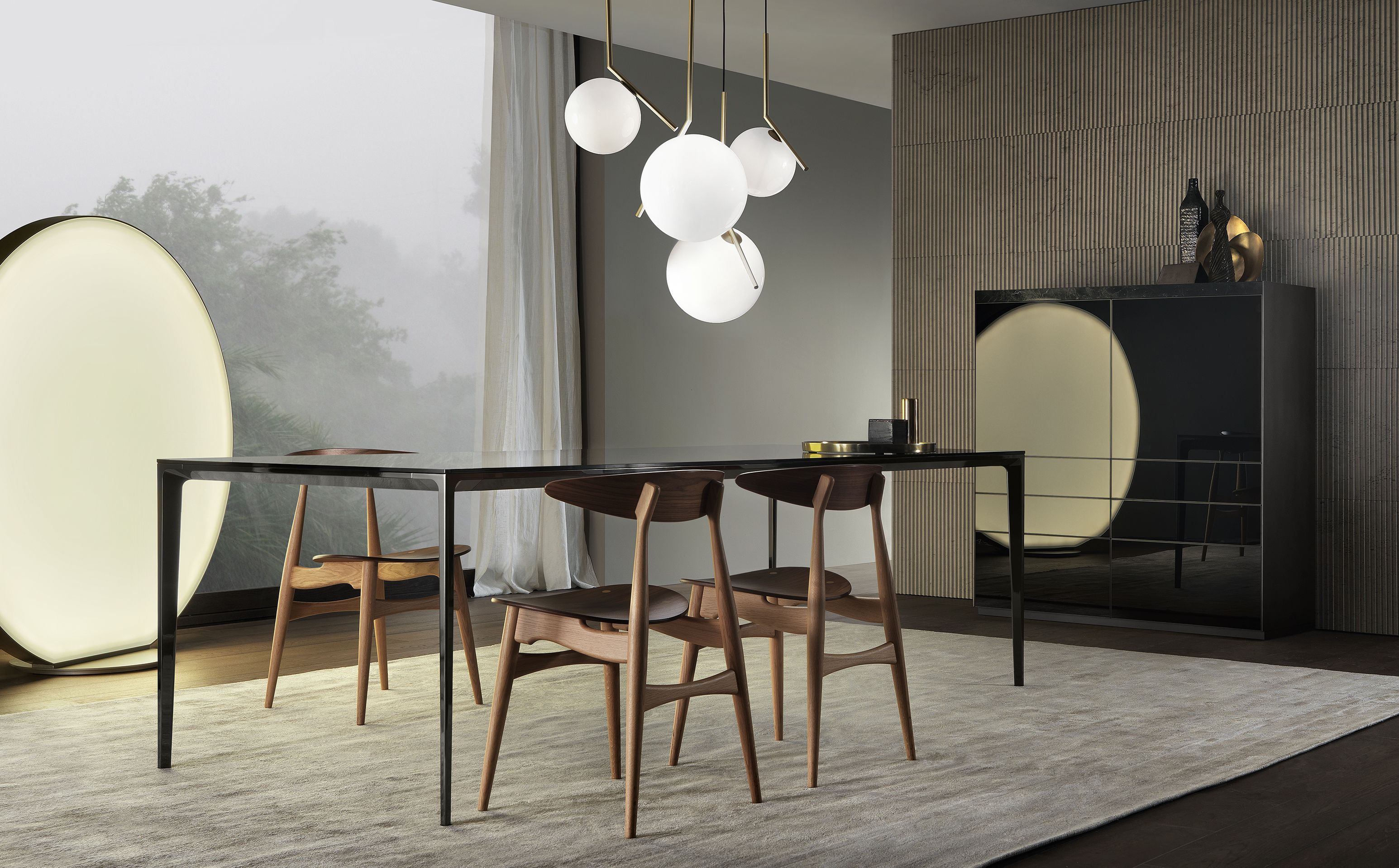 Bon #Rimadesio Long Island Table With Black Nickel Structure, Grey Transparent  Tempered Glass Top And Perimetral Frame With Silver Finish.
