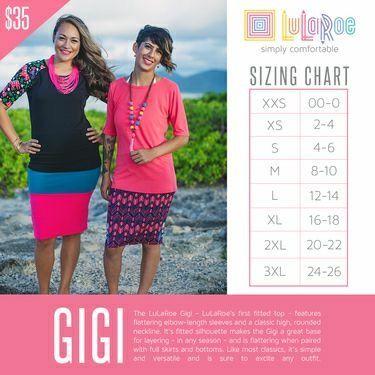 LuLaRoe Gigi size chart LULUROE Lularoe sizing, Lularoe size
