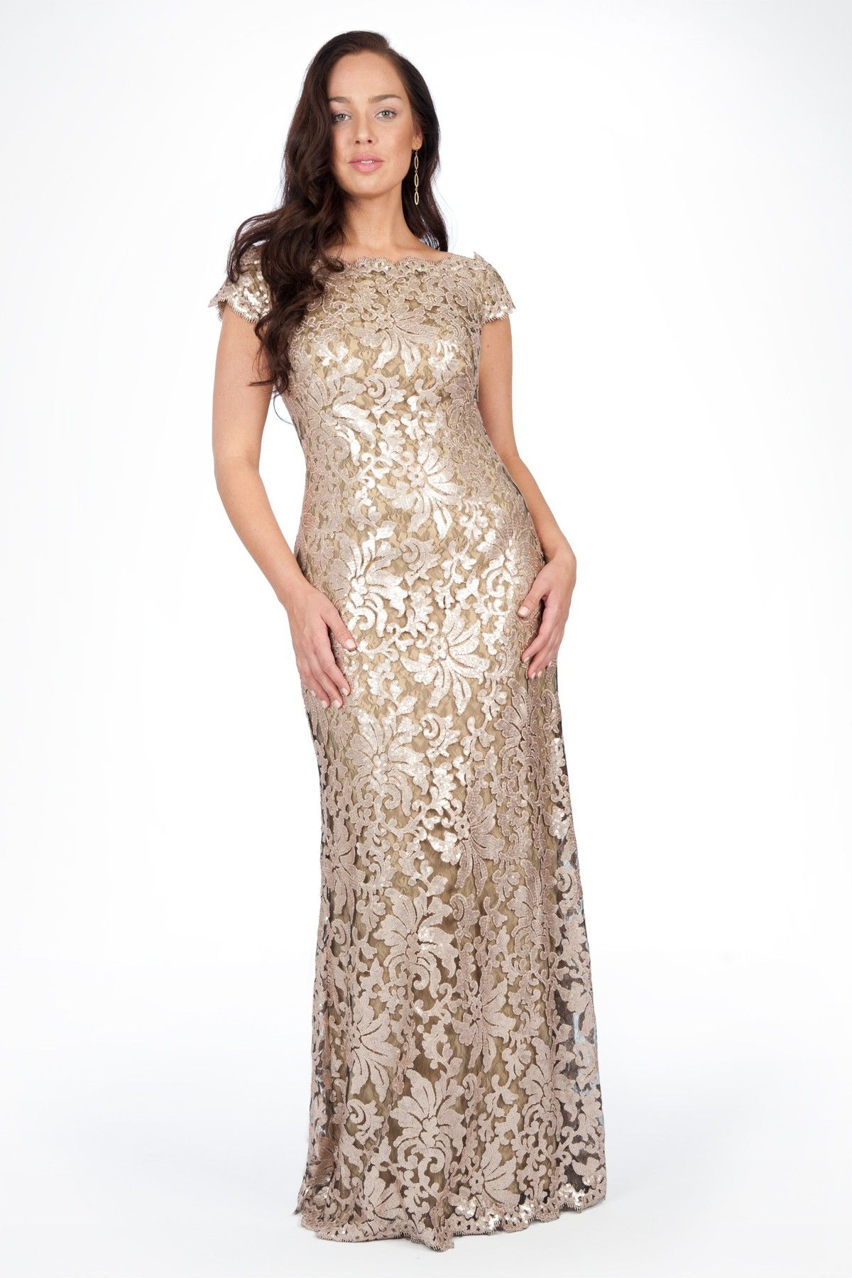 Paillette embroidered lace off shoulder gown in ginseng plus size