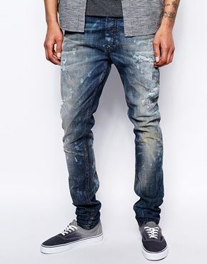 16002fc03ce Diesel Tepphar 830K Stretch Skinny Dirty Distress DNA Denim - Distress blue  on shopstyle.co.uk