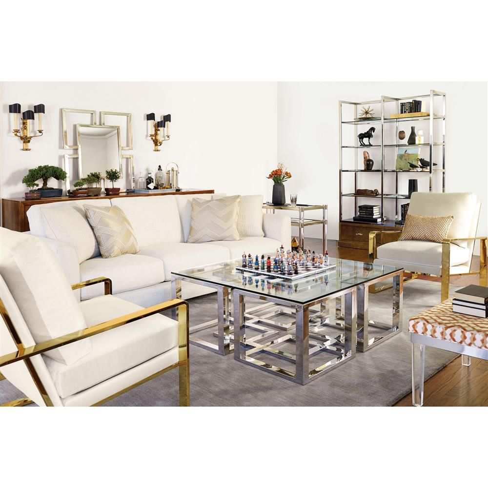 Mercer Stainless Steel Silver Square Glass Coffee Table