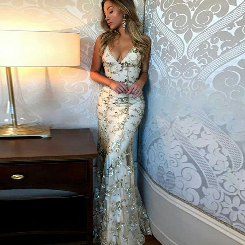Mermaid spaghetti straps light champagne prom dress with ...
