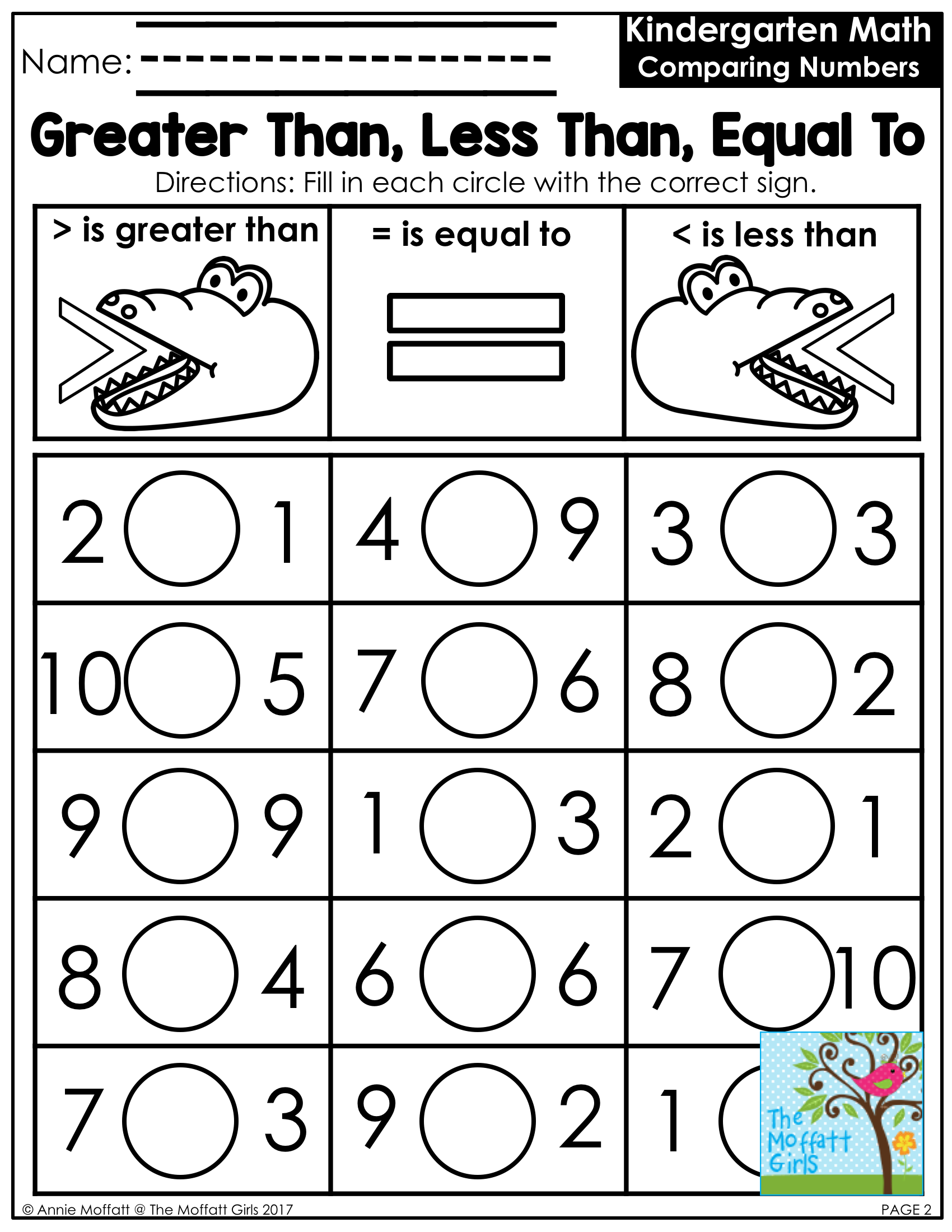 Free Comparing Numbers Worksheets Pictures