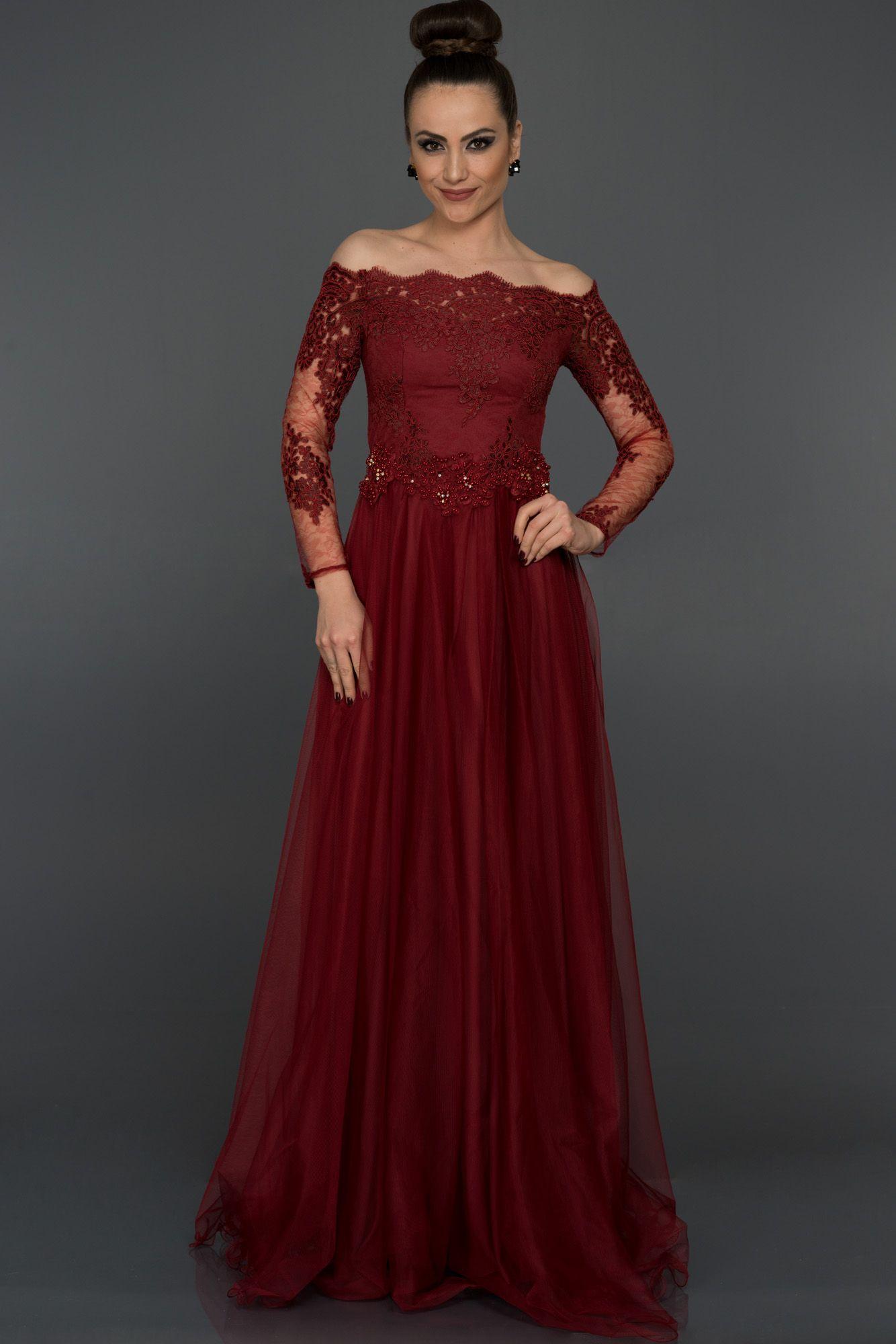 Bordo Dantelli Uzun Kollu Abiye Abu019 The Dress Mezuniyet Elbiseleri Parti Elbisesi
