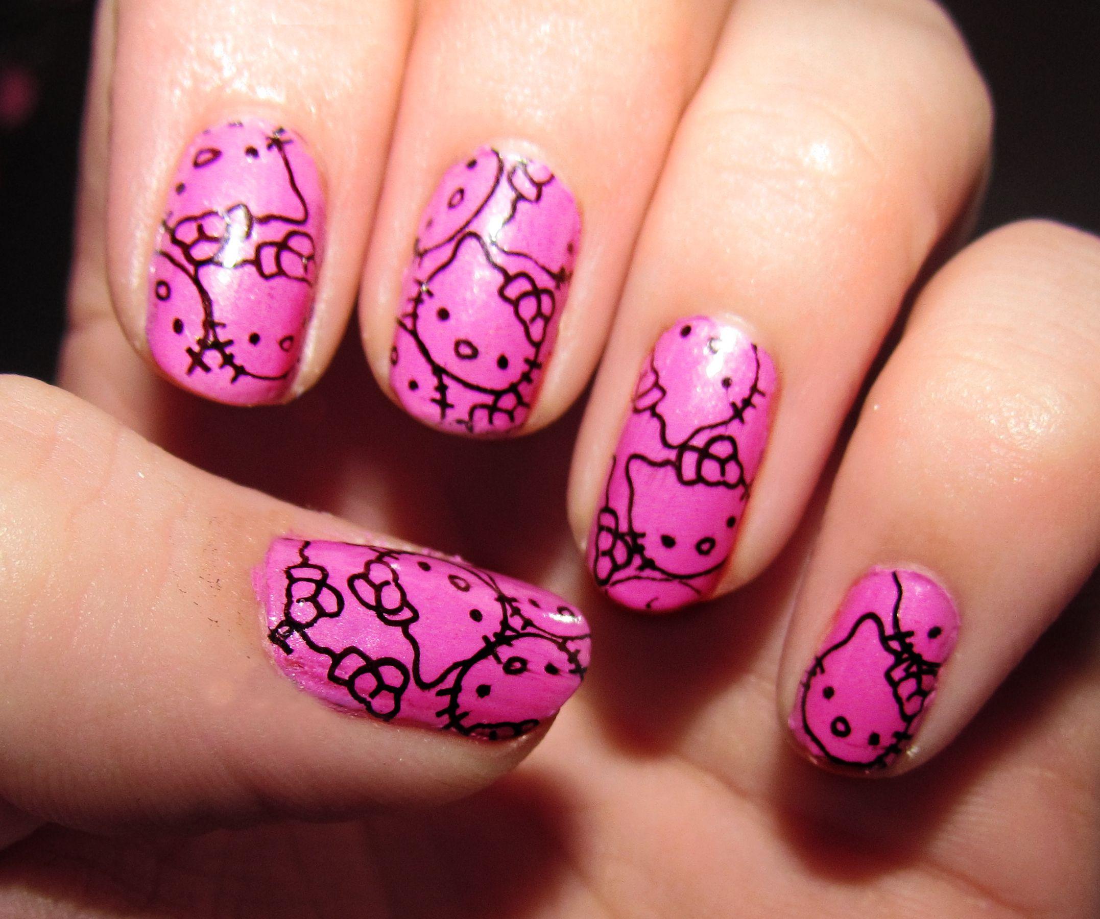 Hello Kitty Nail Art Hello Kitty Pinterest Hello Kitty Nails