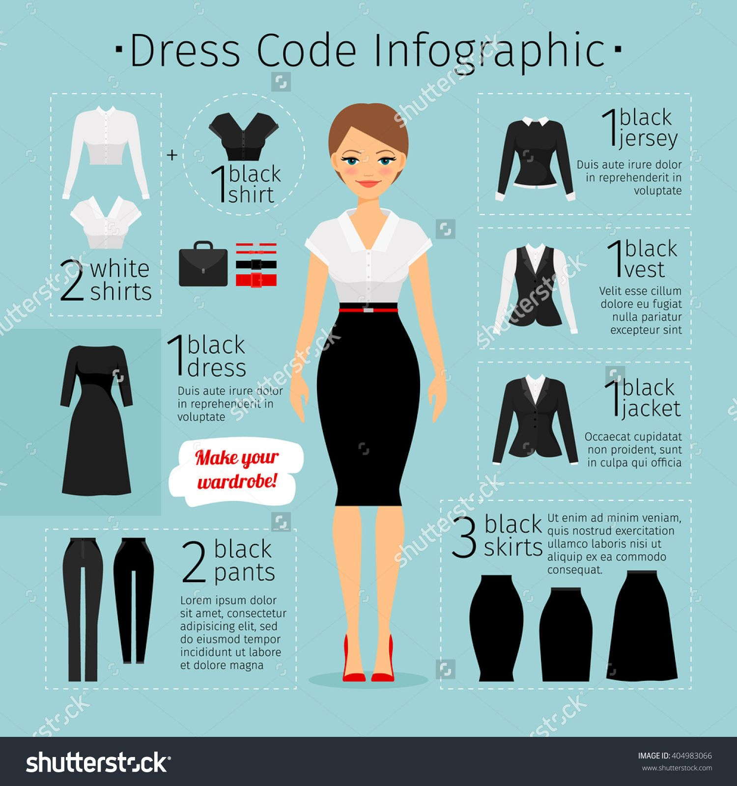 Business woman clothes infographics. Female Business dress code ...