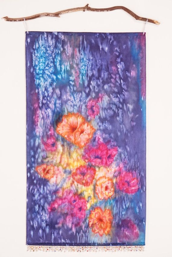 Boho Floral Tapestry  Watercolor Wall Tapestry by WatercolorMuse1