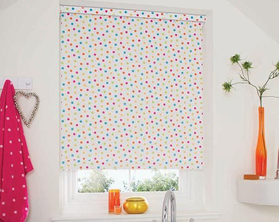 Blackout Roller Blind With Multi Coloured Spots Amp Dots