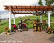 10'x14' Wood Artisan Pergola with Canyon Brown Stain and Retractable EZShade Canopy