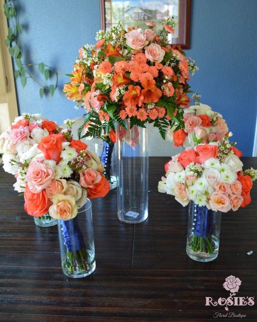 Coral flower hurricane vase topper centerpiece for wedding