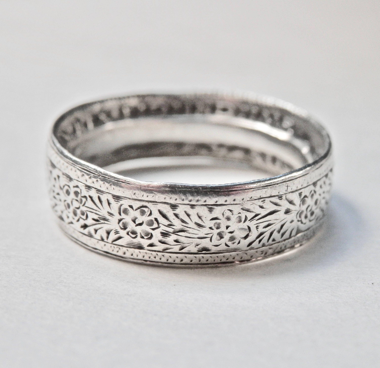 Vintage Handmade Ring Wedding Band Australian Coin Silver Band Size