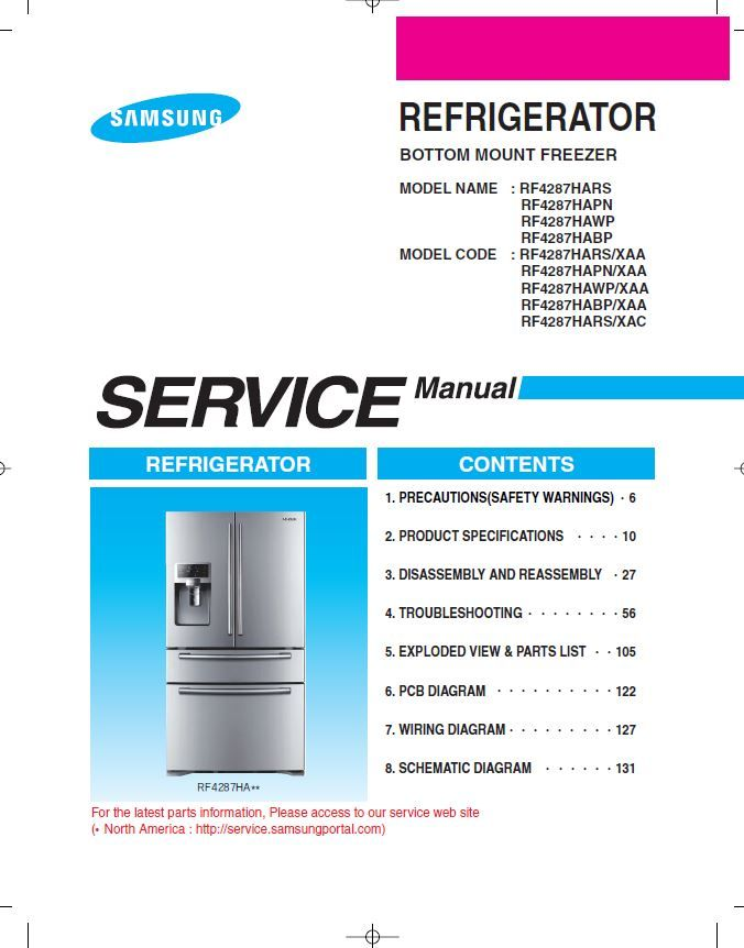 Samsung RF4287HARS RF4287HABP RF4287HAWP RF4287HAPN Refrigerator ...