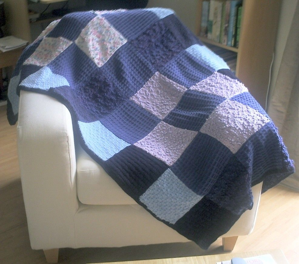 Lap blanket, knitted patchwork squares | Squares, Patchwork and Blanket