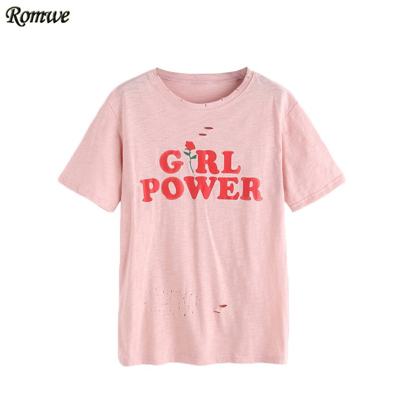 f092f741c936 ROMWE Womens Tee Shirts Top Women Fashion Summer Ladies Pink Letter ...