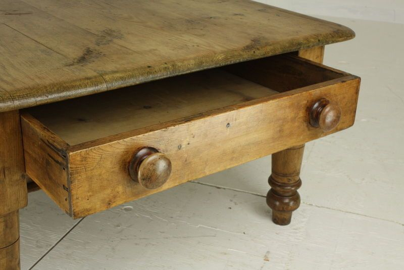 Large Antique English Pine Coffee Table Big End Drawer From A