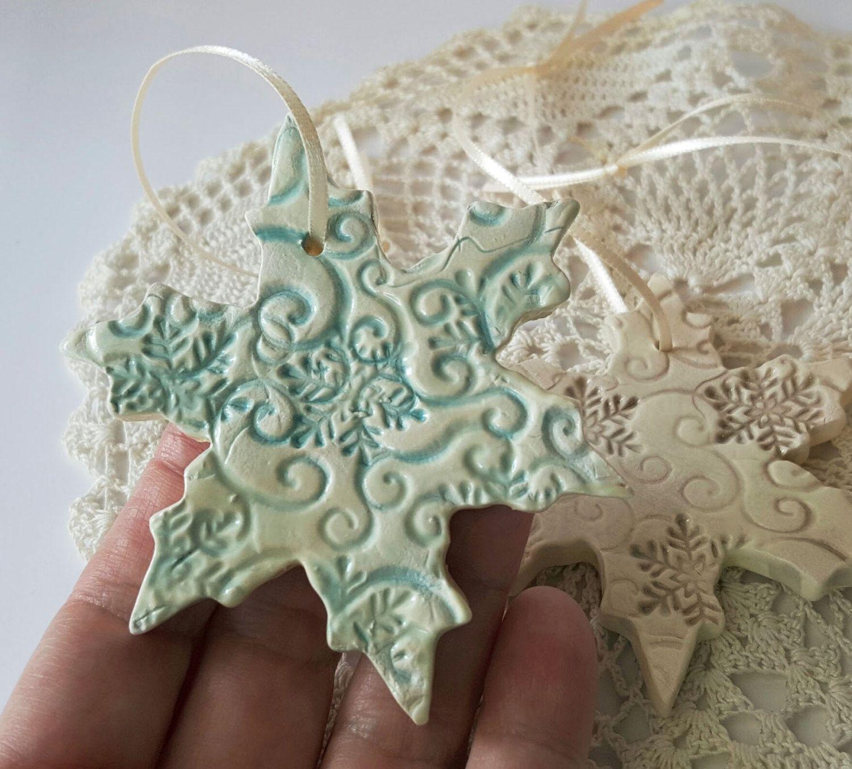 Set Of 3 Clay Snowflakes - Clay Snowflake - Ceramic