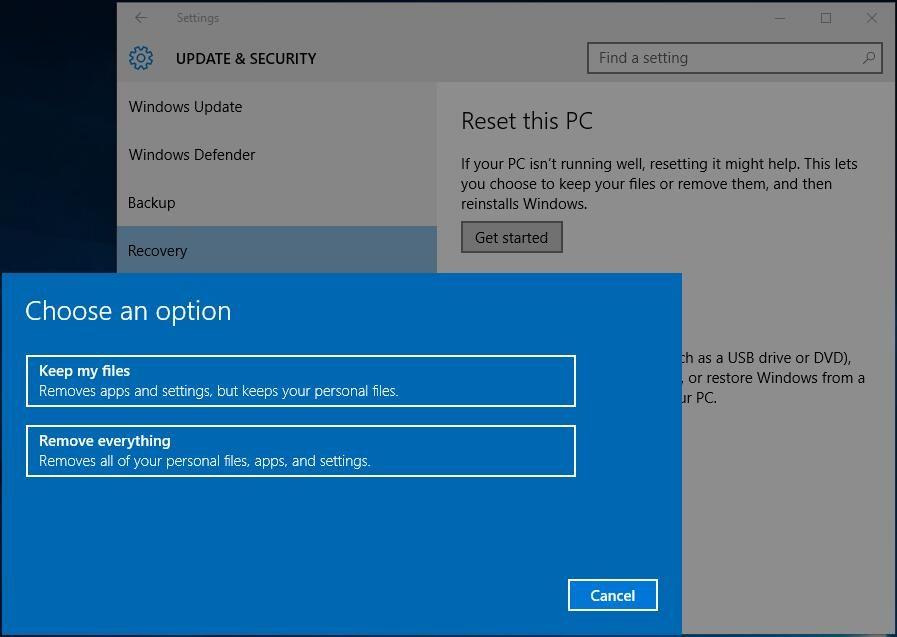 How To Factory Reset Laptop Easily In Windows 10 8 7 3 Ways Windows Defender Backup Windows 10