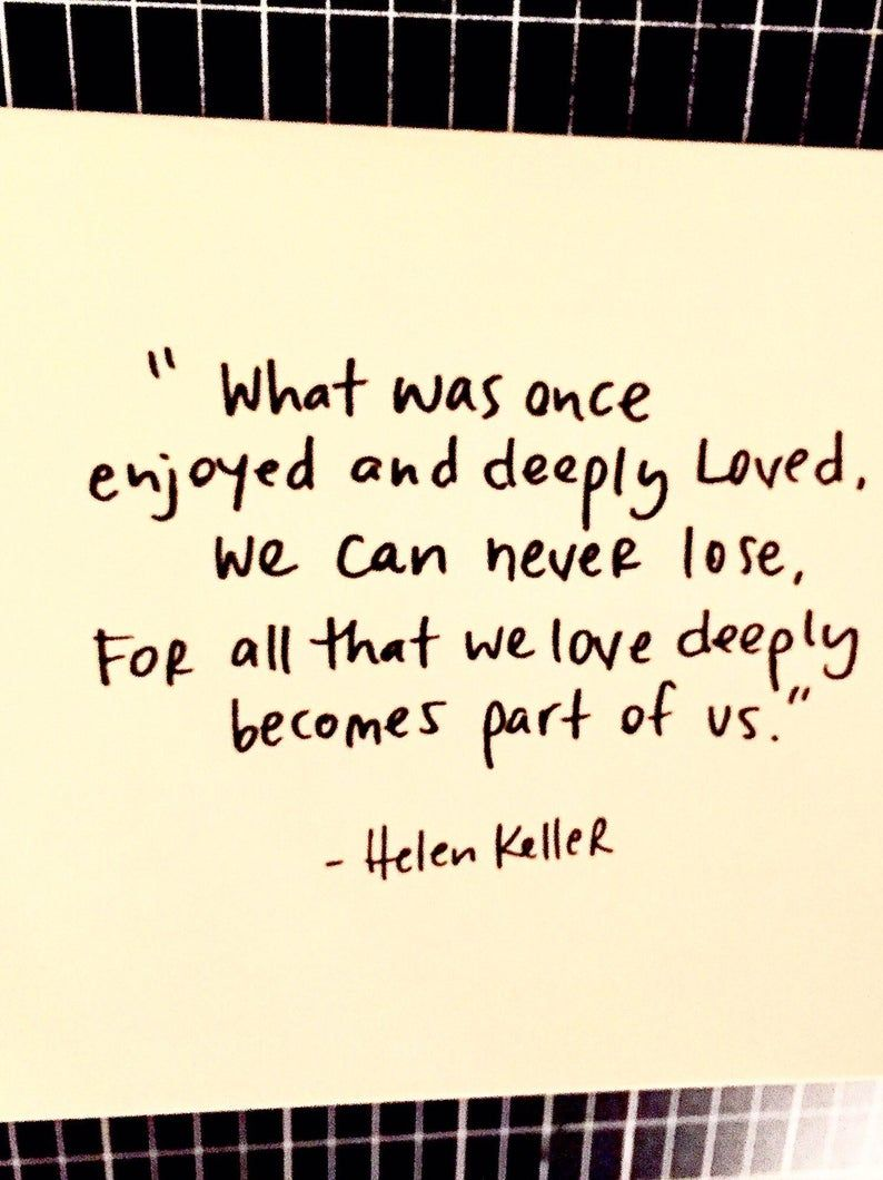 Helen keller quote sympathy card condolence card loss card