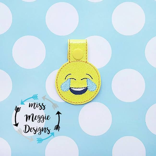 Laughing Crying face snaptab Embroidery Design