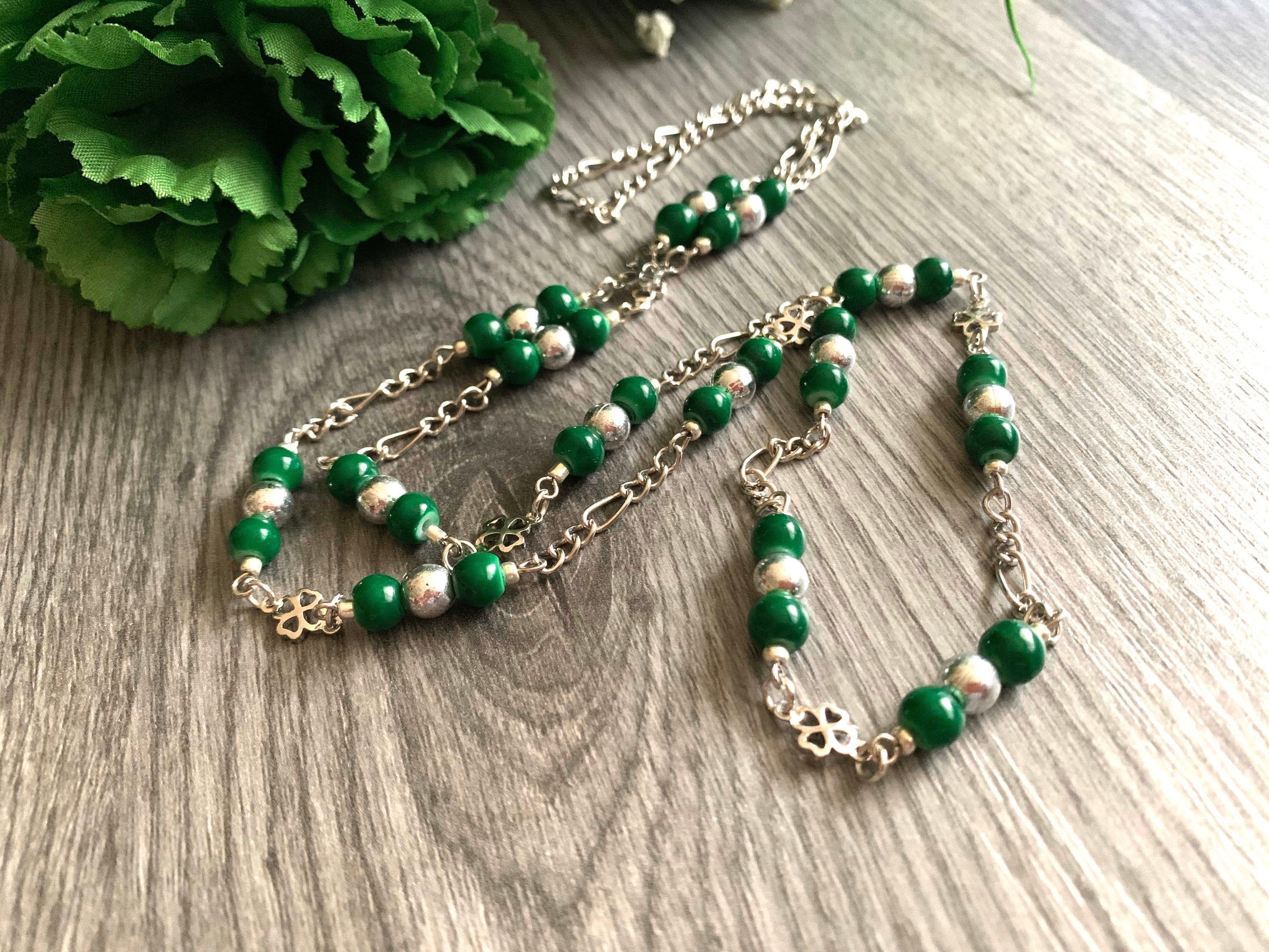 Photo of Long Shamrock Necklace – Celtic Jewelry – Emerald Green Beaded Necklace – St. Patrick's Day