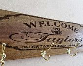 Personalized coat rack-Gift for new home-foyer decor-housewarming gift-laser engraved wood-mud room sign-laser engraved welcome sign