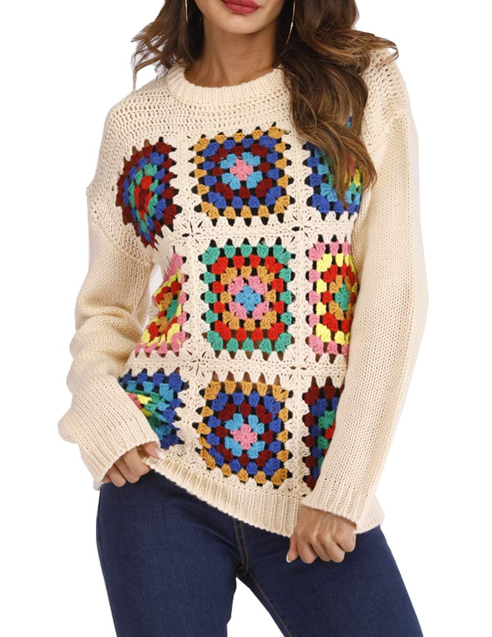 66fdd2445c Blingfit Womens Long Sleeve Crew Neck Chunky Boho Sweater Tops Knit  Pullover Sweater    You can find out more details at the link of the image.