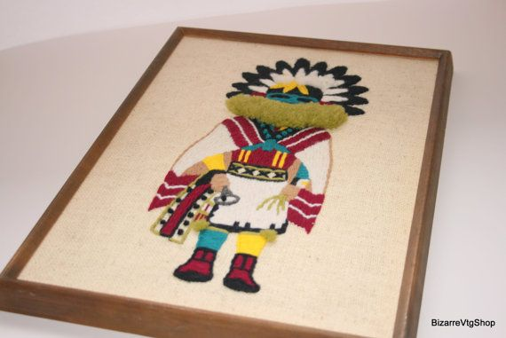 Vintage Kachina American Indian Southwestern Needlepoint Framed Art by BizarreVintageShop, $49.95, http://www.etsy.com/shop/BizarreVintageShop